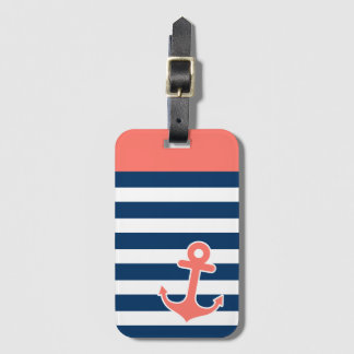 Nautical Anchor in Trendy Coral Navy Stripes Luggage Tag