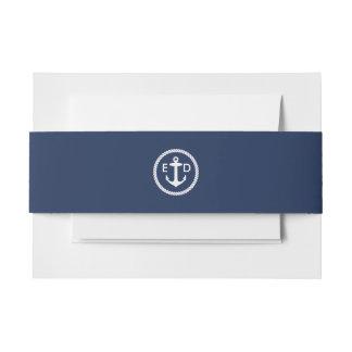 Nautical Anchor Initials Elegant Navy Blue Invitation Belly Band