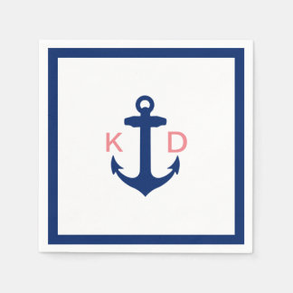 Nautical Anchor Initials Simple Border Wedding Paper Napkin