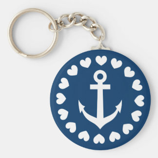 Nautical anchor keychain | Navy blue and white
