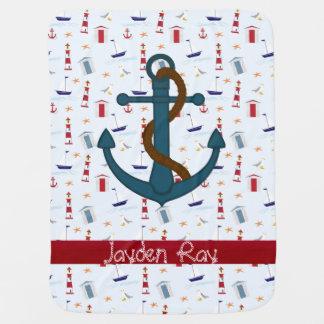 Nautical Anchor lighthouse baby blanket