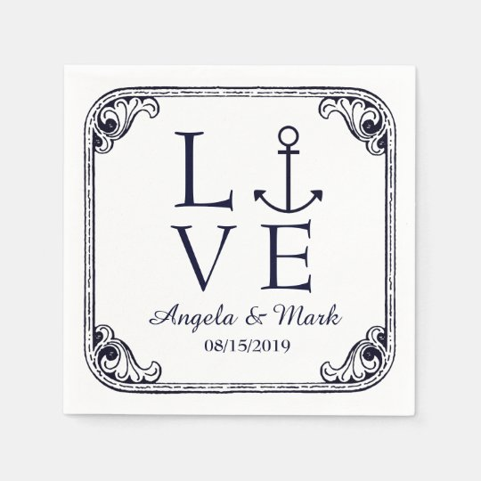 Nautical Anchor Love Vintage Personalized Wedding Disposable Napkins