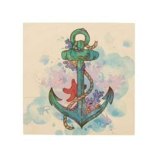 nautical anchor mermaid party decor wall art wood print