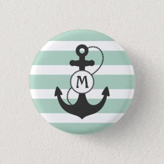 Nautical Anchor Monogram 1 Inch Round Button