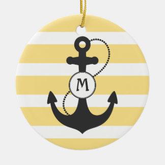 Nautical Anchor Monogram Round Ceramic Ornament