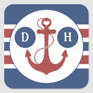 Nautical Anchor Monogram Square Sticker