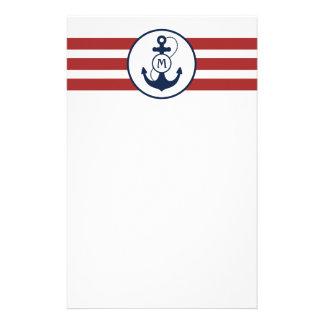 Nautical Anchor Monogram Stationery