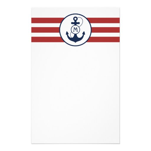 Nautical Anchor Monogram Custom Stationery