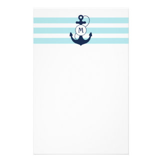 Nautical Anchor Monogram Stationery Design