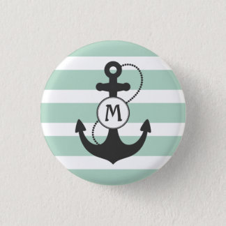Nautical Anchor Monogram with Light Green Stripes 1 Inch Round Button