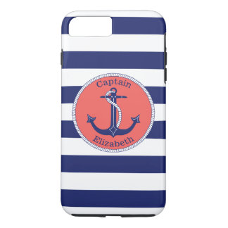 Nautical Anchor Navy and Coral Personalized iPhone 7 Plus Case