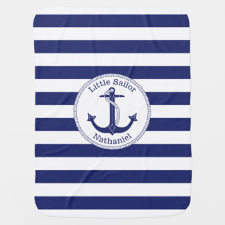 Nautical Anchor Navy and White Personalized Baby Blanket