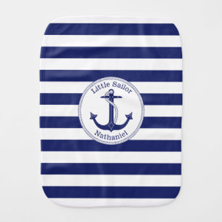 Nautical Anchor Navy and White Personalized Burp Cloth