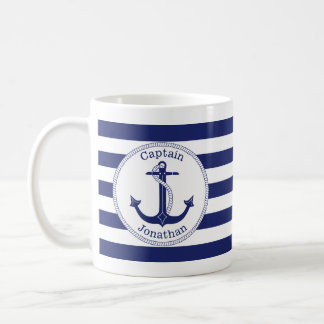Nautical Anchor Navy Blue Captain Personalized Coffee Mug