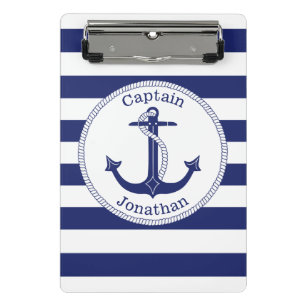 Nautical Anchor Navy Blue Captain Personalized Mini Clipboard