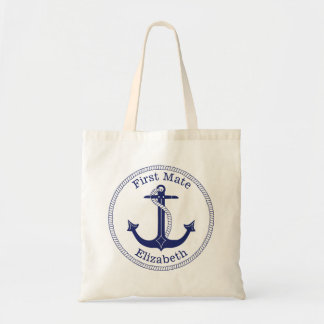 Nautical Anchor Navy Blue First Mate Personalized Tote Bag