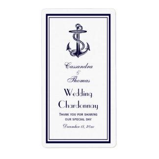 Nautical Anchor Navy Blue Framed 2BV Wine Bottle Shipping Label