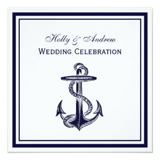 "Nautical Anchor Navy Blue Framed 2SQ Wedding 5.25"" Square Invitation Card"