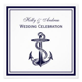 Nautical Anchor Navy Blue Framed 2SQ Wedding Personalized Invitation
