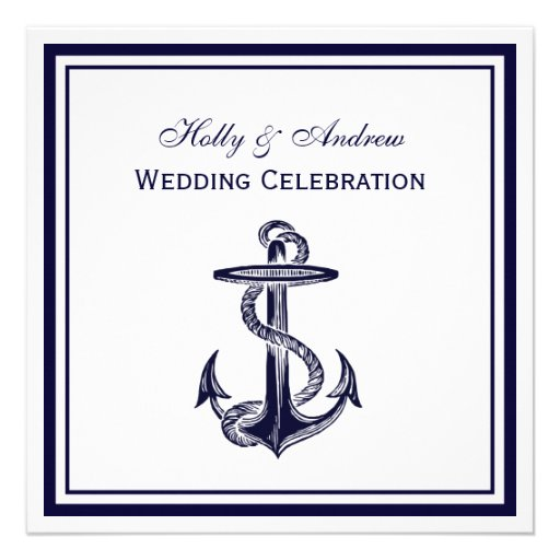 Nautical Anchor Navy Blue Framed 2SQ Wedding Personalized Invitation