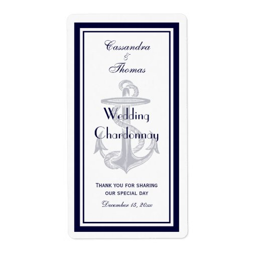 Nautical Anchor Navy Blue Framed V Wine Bottle Custom Shipping Label
