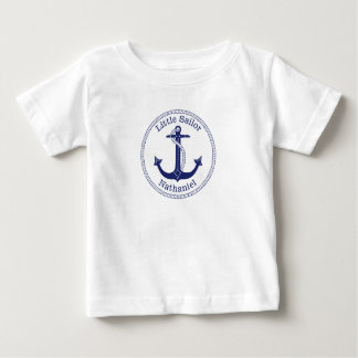 Nautical Anchor Navy Blue Little Sailor Name Baby T-Shirt