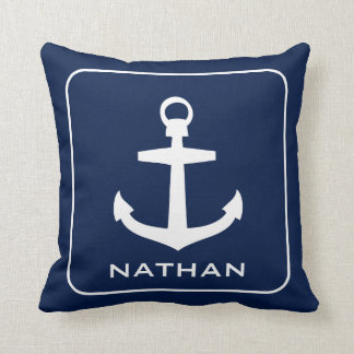 Nautical Anchor Navy Blue Name Custom Throw Pillow