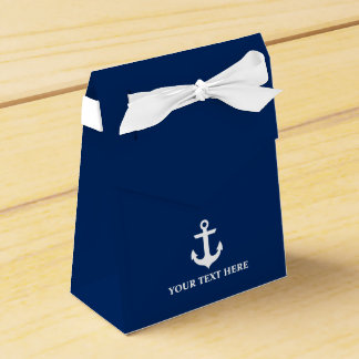 Nautical Anchor Navy Blue Personalized Bow Favor Box