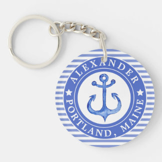 Nautical Anchor Navy Blue Personalized Keychain