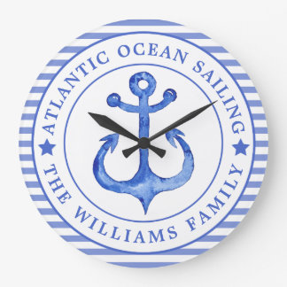 Nautical Anchor Navy Blue Personalized Large Clock