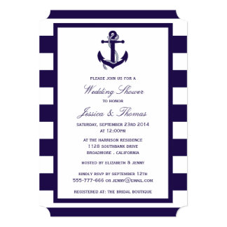 Nautical Anchor Navy Blue Stripe Wedding Shower Card
