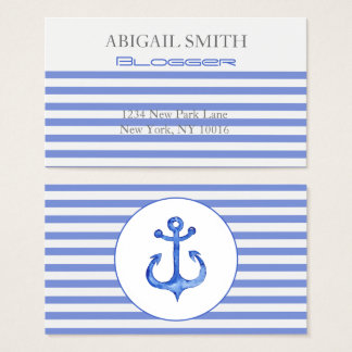 Nautical Anchor - Navy Blue Striped Business Cards