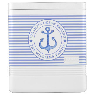 Nautical Anchor Navy Blue Striped Personalized