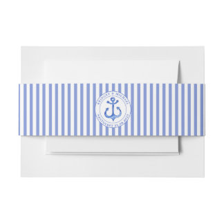 Nautical Anchor Navy Blue Striped Personalized Invitation Belly Band