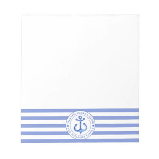 Nautical Anchor Navy Blue Striped Personalized Notepad