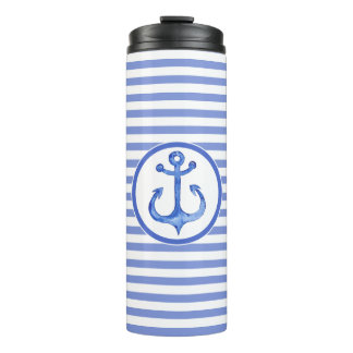 Nautical Anchor Navy Blue Striped Thermal Tumbler