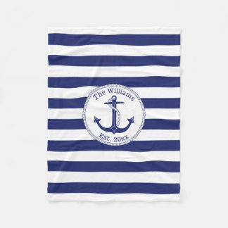 Nautical Anchor Navy Blue Stripes Family Name Fleece Blanket