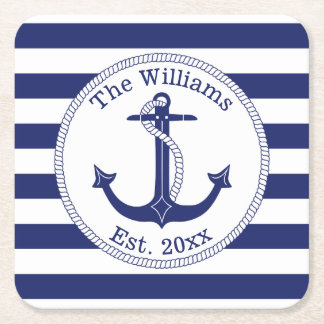 Nautical Anchor Navy Blue Stripes Family Name Square Paper Coaster