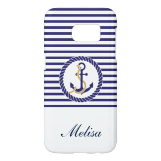 Nautical Anchor Navy Blue Stripes Name Samsung Galaxy S7 Case