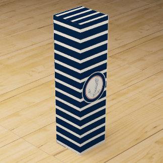 Nautical Anchor Navy Blue Stripes Wine Gift Box