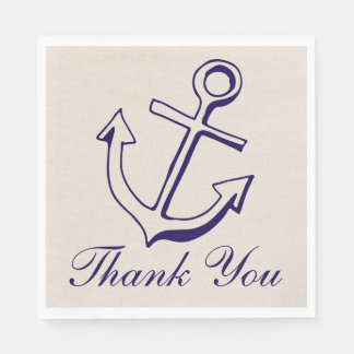 Nautical Anchor Navy Blue Wedding Tan Thank You Disposable Napkins