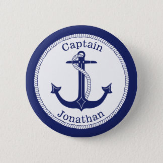 Nautical Anchor Navy Captain Personalized 2 Inch Round Button