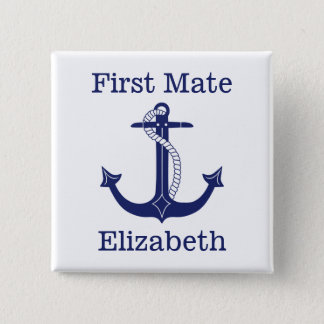 Nautical Anchor Navy Captain Personalized 2 Inch Square Button