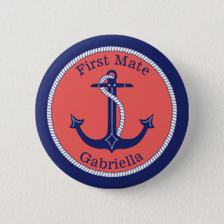 Nautical Anchor Navy Coral First Mate Personalized 2 Inch Round Button