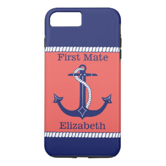 Nautical Anchor Navy Coral First Mate Personalized iPhone 7 Plus Case