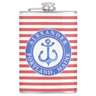 Nautical Anchor Navy Personalized Red Hip Flask