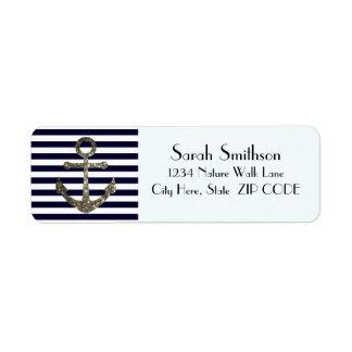 Nautical Anchor Navy Striped Address Return Labels