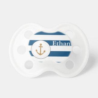 Nautical Anchor Navy Striped Customizable Pacifier