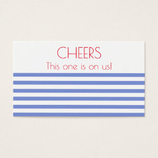 Nautical Anchor, Navy Striped Wedding Drink Ticket