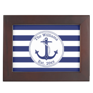 Nautical Anchor Navy Stripes Add Name and Photo Keepsake Box